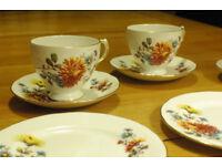 Gainsborough Bone China Tea set, 3 cups, 3 saucers and 3 tea plates - very elegant with gold lip