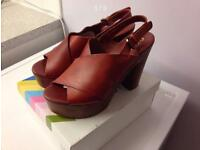 New OFFICE Ladies Platform Wedge Leather/Suede Upper Shoes UK 7