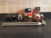 Cameras and tripod