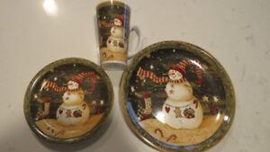 Christmas in July-Snowman dinner plates, sandwich plates & mugs