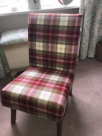 Newly upholstered chair in Fernie Moon Fabric with free beautiful Highland Coo cushion