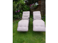 Sun loungers - 2 matching, padded, as new
