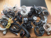 Computer Cables, 3 pin plugs, Adaters/phone Charges