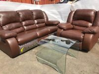 Brand new 3 seater leather recliner sofa with matching armchair