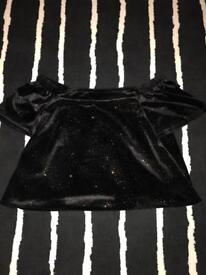 NEWLOOK black velvet sparkly off shoulder top