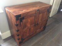 Dark wood Indian style two door chest