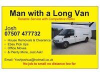 man with a long van