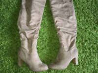 Suede knee high boots, ex con