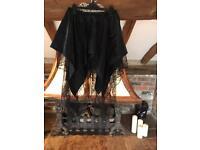 Ladies 'K-Star' Gothic Black Mini Skirt With Spiderweb Lace Design - Size S-M