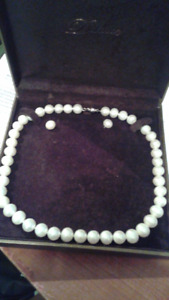 LOVELY one of a kind pearl necklace and earrings