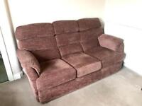 3 piece suite (3 seater couch, 2 x chairs - 1 is an electric recliner)