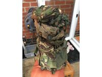 Army issue Bergen plus additional 20L pouches x 4