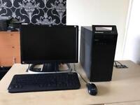 "Lenovo m72 intel Dual core 3.0 ghz 4gb ram 320gb hdd 19"" lcd win10 refurbished full system"