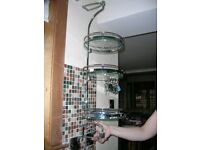 ROTATING GLASS/CHROME 3 TIER SHELF/TIDY