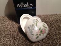 Aynsley China Wild Tudor Heart shaped trinket (BRAND NEW IN BOX, unwanted gift) (worth £30)