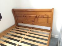 PINE SLEIGH BED, DOUBLE.