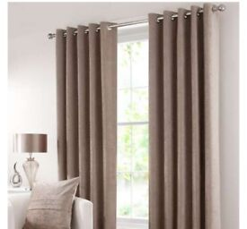 Dunelm eyelet curtains brown. 228 X 182 cm