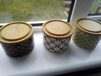 Three Small Kitchen Container Pots.