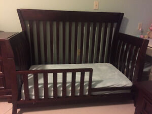 Solid Dark Wood Convertible Crib, Changing Table & Side Table