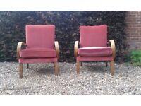 2 antique 1930's Parker Knoll PK708 armchairs