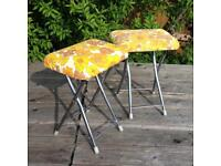 2 VINTAGE RETRO Camping STOOLS VW CAMPERVAN Folding Kitchen Stools, Loose Covers