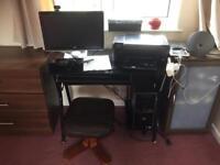 Computer, Printer, Desk, Webcam