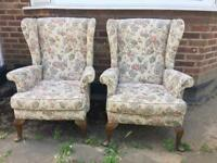 PAIR ENGLISH WINGBACK ARMCHAIRS FREE DELIVERY LDN🇬🇧