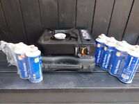 Single burner gas camping stove and 6 gas canisters