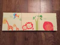 Set of three My Jungle Family canvas pictures