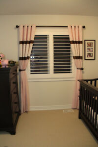 Girls Room - 2 Panel Curtains with Rod & Tie Back Hooks!