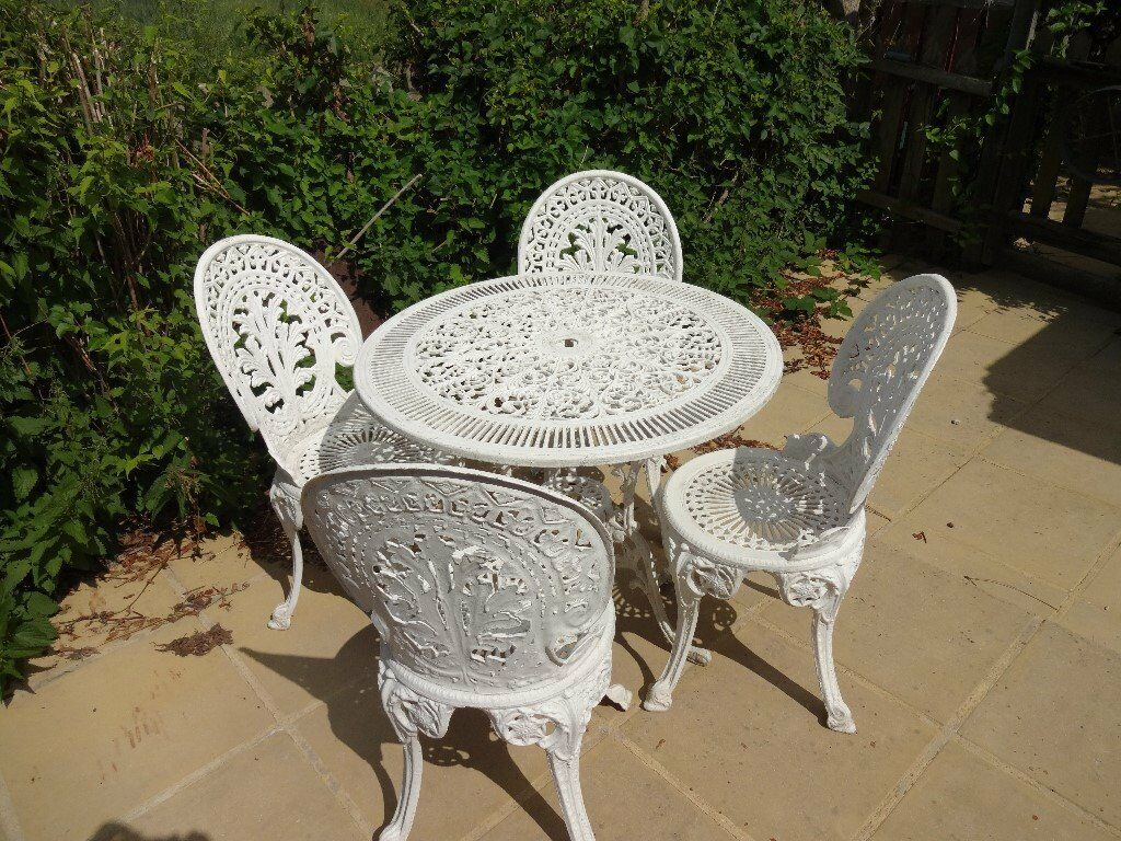 Cast aluminium garden furniture set table and 4 chairs victorian style in chelmsford - Garden furniture table and chairs ...