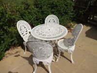 CAST ALUMINIUM GARDEN FURNITURE SET -- TABLE AND 4 CHAIRS -- VICTORIAN STYLE --