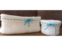 Set of 2 nylon crochet baskets/House warming gift/Home décor