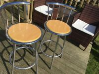 Two pine and chrome breakfast bar stools