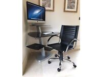Contemporary Black Smoked Glass Corner Desk With Black and Chrome Office Chair