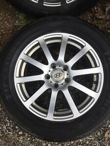 "Hyundai 17"" Alloy Rims with tires"