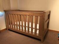 Charnwood Bordeaux oak nursery cot bed and shelf