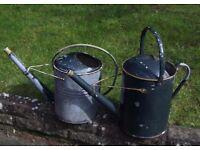 Two Vintage Galvanised Watering Cans