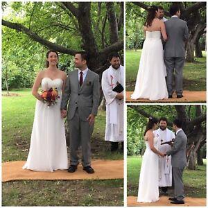 David's Bridal Chiffon Lace Sweetheart Wedding Dress