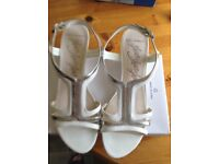 Marks and Spencer white and silver sandals size 6