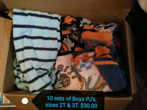 10 sets of Boys Pajamas 2T & 3T