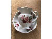 Rose design large pitcher jug & bowl set - Swansea