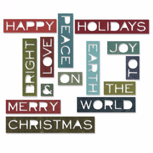 Sizzix Thinlits 14PK - Holiday Words #2: Thin By Tim Holtz - $18