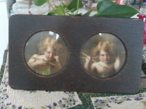 Lovely Antique Framed Prints Of Sleeping Cupid And Awake Cupid