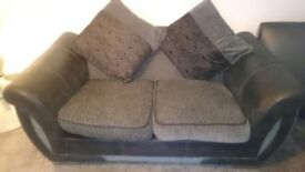 FABRIC & LEATHER SOFA IN MINT CONDITION