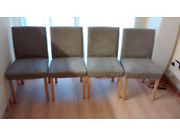 Four beige, suede effect dining chairs for sale. Excellent condition. £45
