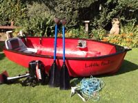 CUSTOM MADE 8FT 7'' TENDER/FISHING DINGHY,4HP OUTBOARD,OARS AND ANCHOR.plus chain and rope