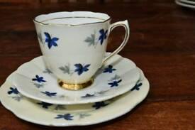 Tuscan 'Plant' art deco vintage bone china teacup, saucer & teaplate