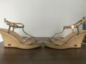 Authentic Michael Kors Gold Wedges