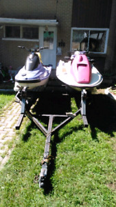 Doube seadoo trailer for sale with pink seadoo for parts - 900